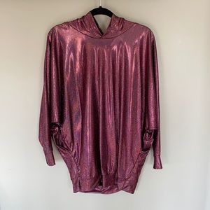 American Apparel Pink Rainbow Sparkly Hooded Shirt